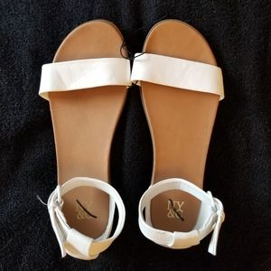 NY & C White Ankle Buckle Flat Sandals New